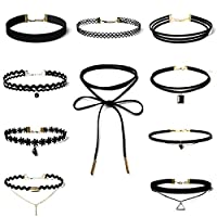 10 PCS Women Choker Necklaces Black Velvet Stretch Tattoo Choker Necklace Set for Girls