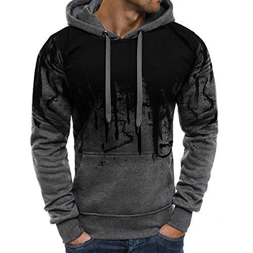 Z&Y Glaa Herren Sweatshirt Kapuzenpullover Pullover Hoodie Hoher Kapuzenansatz Känguru-Tasche Gerippte Ärmel und Abschlussbündchen Sweatjacke Casual Streetwear Basic Style Doppelfarbig Tops