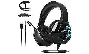 ONIKUMA Cascos Gaming PS4/PC/Xbox One, Auriculares Gaming Headset con Micrófono 3.5mm Jack para Nintendo Switch o Móvil, Auriculares de Diadema con Cancelación de Ruido Mic y 7.1 Sonido Envolvente