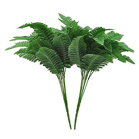 GEEDIAR 2Pcs Artificiel Feuilles Persian Grass Arbustes Plastique Jardin Décoration de Plancher