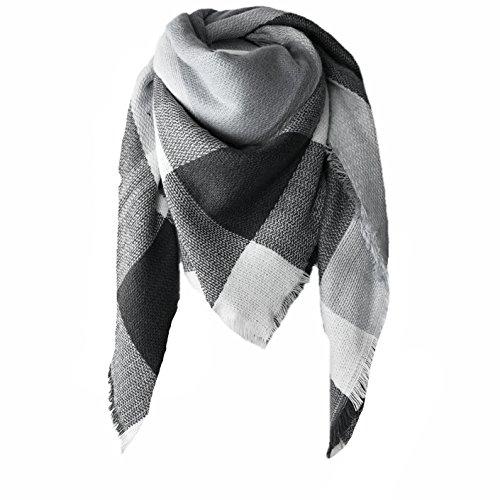 MB XXL Damen Schal Kariert übergroßer quadratisch Deckenschal Karo Tartan Streifen Plaid Muster Oversized Fransen Poncho (Schwarz-Weiß)