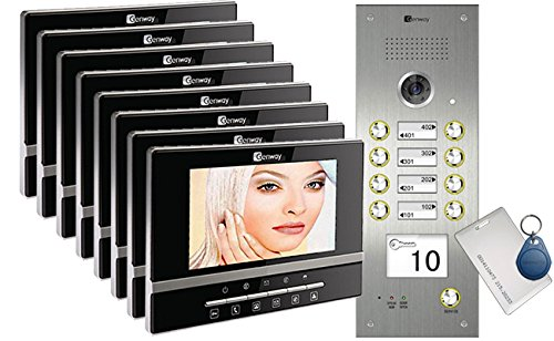 "8-Apartments Video Door Entry System with Luna 7"" Monitors CAT5 series"