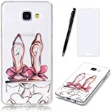 Lotuslnn Samsung Galaxy A3 2016 Coque,Samsung Galaxy A3 2016 /SM-A310 TPU Silikon Etui Transparent Housse Cases and Covers (Coque+ Stylus Pen + Tempered Glass Protective Film)- High-heeled shoes