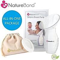 naturebond silicone Tiralatte Manuale allattamento latte Saver Ventosa | All-in-1coperchio e astuccio in confezione regalo stile. Senza BPA e 100% silicone alimentare