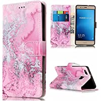Lomogo Huawei P9 Lite Leather Wallet Case with Kickstand Credit Card Holder Magnetic Closure Shockproof Flip Case Cover for Huawei P9 Lite / G9 Lite (Pink Water)