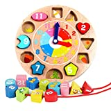 Egleson Holz Steckpuzzle Uhr Kinder Lernuhr ab 3 Jahre Bunte Sotierung Bausteine mit Seil, Zahl und Tier Muster Pädagogisches Lernen Spielzeug