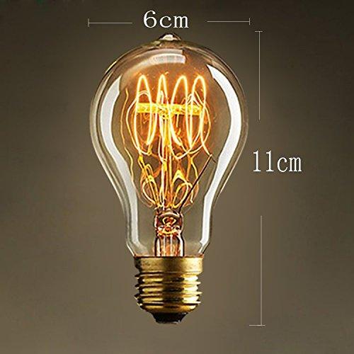KJLARS Vintage Edison Glühbirne Glühlampe E27 60W A19 Birne Für Retro Nostalgie Beliebte Dekoratives Leuchtmittel (3 Stück) -
