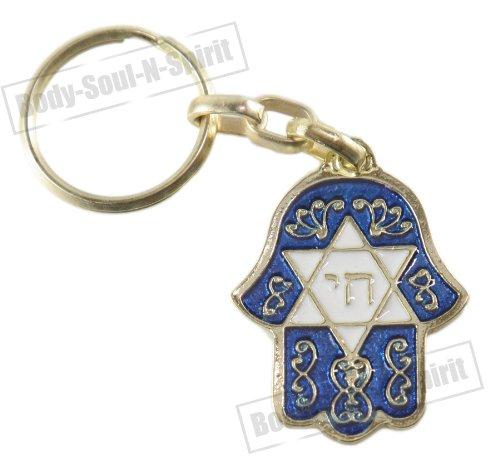 Body-soul-n-spirit - décoration murale Hai et étoile de David Bleu Hamsa Israël Kabbale Judaïca Porte-clés Protection