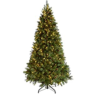 WeRChristmas Pre-Lit Crawford Pine Cone Multi-Function Christmas Tree, with 500-LED Lights, Green, 2.1 m-7 feet