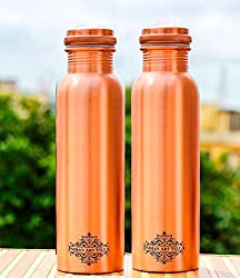 IndianArtVilla Matt Finish Lacqour Coated Anti Tarnished Leak Proof Set of Copper Bottle with New Designed Lid, Travel Essential, Drinkware, 1000 ML, 2 Pieces