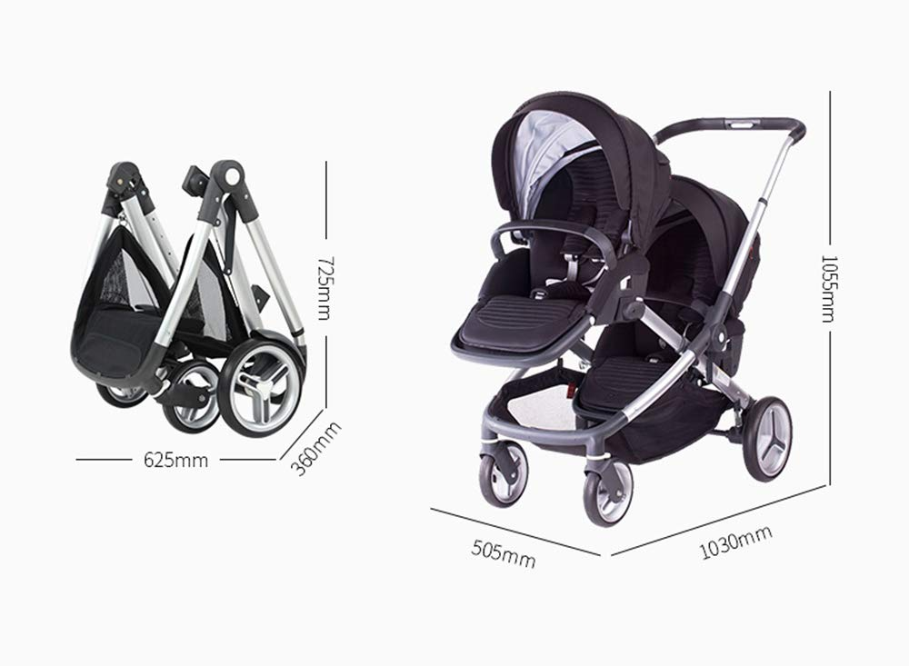 MYRCLMY Baby Strollers Double Pushchair Twins Tandem Pushchair,Lightweight With Convertible Bassinet Stroller Extended Canopy/Large Storage Basket MYRCLMY *LIGHTWEIGHT - Travel-friendly lightweight design is perfect for traveling and day trips. *EXTRA SPACE - Multi-position tilting seat and rotating calf support can be easily adjusted to ensure baby comfort; large storage basket and two integrated seat back pockets provide extra space for your baby. *RECLINING SEAT -- Reclining seat offers 5-point safety restraint system and accommodates child to 50KG per seat. 2