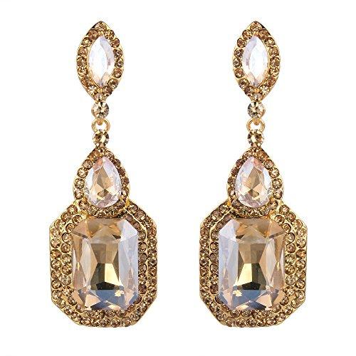 Clearine Damen Fashion Einfach Geometrisch Kristall Marquise Tropfen Form Chandelier Dangle Statement Ohrringe Gold-Ton Braun