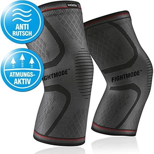 Kniebandage Sport (2x) stabilisierend, schmerzlindernd und schützend - Rutschfeste Knie Bandage für Herren und Damen - Knieschoner für Kompression, Laufen, Kickboxen, Joggen, Wandern, Crossfit