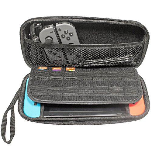 Funda para Nintendo Switch - Bolsa de goma EVA [Rígida] de CaseBase en NEGRO para la Nintendo Switch (Para meter la Consola. los JoyCons y Otros Pequeños Accesorios)
