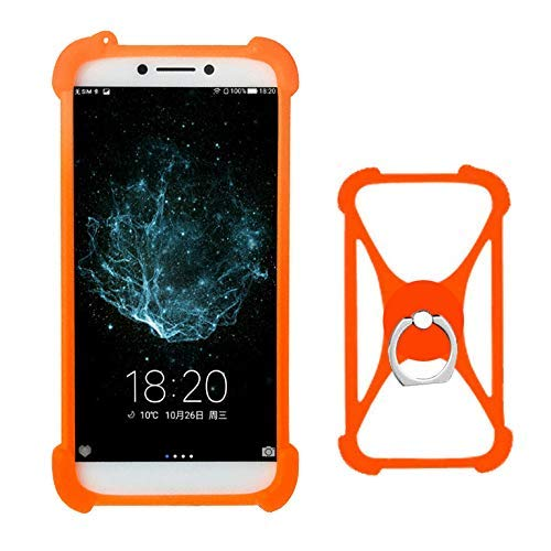 Lankashi Orange Silikon Schutz Tasche Hülle Case Ring Halter Ständ Cover Etui Handyhülle Handytasche Für DOOGEE X80 Homtom HT10 HT17 HT16 HT26 Shoot 1 2 Rainbow 2 Elephone Soldier P11 A5 Universal