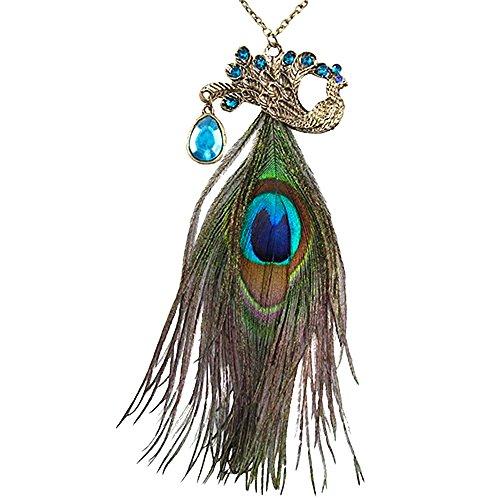 Kim Johanson Damen Halskette *Peacock* Pfau in Bronze mit einer echten Pfauenfeder & Zirkonia Steinchen besetzt inkl. Schmuckbeutel