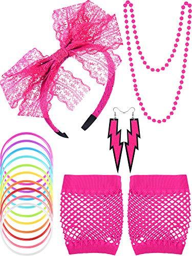 80s Lace Stirnband Ohrringe Fischnetz Handschuhe Halskette Armband für 80s Partei