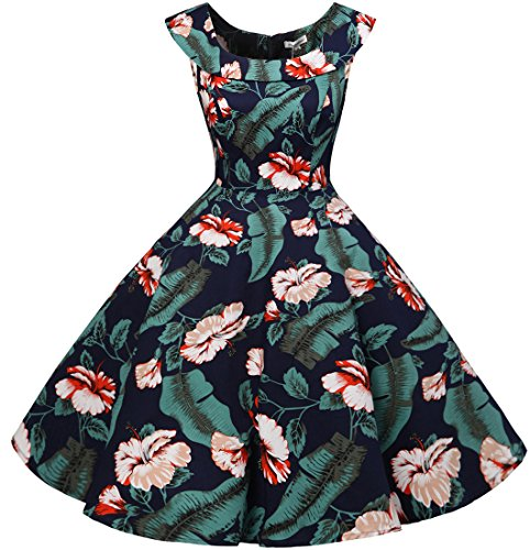 Bbonlinedress 50s Vintage Retro U-Ausschnitt Rockabilly Cocktail Party Kleider Navy Flower M