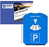 Avery Zweckform 222 Fahrtenbuch, DIN A6 quer, steuerlicher km-Nachweis, 40 Blatt, weiß + Multifunktions-Parkscheibe (integriertem Eiskratzer + 3 Chips für Einkaufswagen)