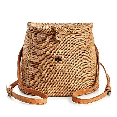 Novum Crafts Rattan-Rucksack für Damen, handgefertigt, geflochtenes Weidengeflecht, Handtasche, Kreis, Boho Bag Bali Rattan-rucksack