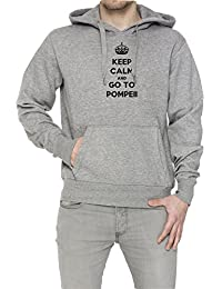 Keep Calm And Go To Pompeii Hombre Sudadera Con Capucha Pullover Gris Algodón Men's Hoodie Sweatshirt Pullover Grey