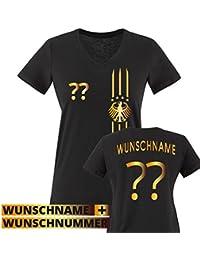 Damen Fußball V-Neck Shirt bedruckbar - WUNSCHNAME & NUMMER - WM / EM / DEUTSCHLAND - Tshirt mit V-Ausschnitt für Damen in Schwarz - Deutschland Trikot in div. Größen