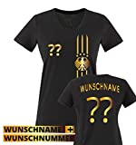 Trikot - MOTIV1 - DE - WUNSCHDRUCK - Damen V-Neck T-Shirt - Schwarz/Gold Gr. M
