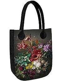 Große Damen Tasche Handtasche Umhängetasche Filz Grau Aufdruck Motiven NESI Kaleidoskope Bertoni