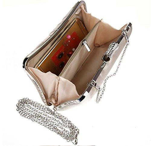 Strawberryer Simple Diamants Sac De Soirée Sac à Main D'embrayage Dames Banquet Décoration De La Robe Portefeuille apricot