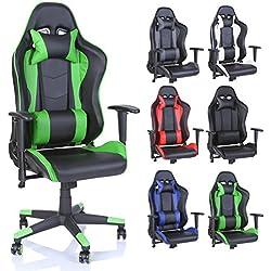 Racing Drehstuhl Bürostuhl Sportsitz Chefsessel Gaming Stuhl 6 Farbvarianten, Wippmechanik, stufenlos verstellbare Rückenlehne (Hellgrün)
