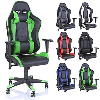 TRESKO Silla de oficina Racing Gaming silla de escritorio ordenador giratoria dirección, disponible en 6 variantes de colores, mecanismo basculante, respaldo ajustable de forma continua (Verde chiaro)