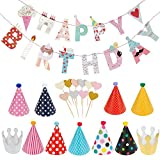 Lictin Birthday Party Decorations Favors, Happy Birthday Banner with 10 Pink Heart-shaped Cake Inserted Card,9 Hats,2 Crowns and 1 Rope, Happy Birthday Banner Kit Birthday Crowns Birthday Hats R