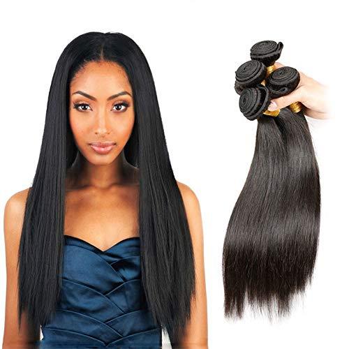 LVY Brazilian Hair Weave Straight Human Hair 4 Bundles 8A virgin Hair Brasilianische Haare Bündel Echthaar Weave Menschliche Haare 400 g Total 20 22 24 26 Inch -