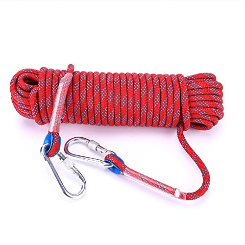 Asixx Kletterseil, Sicherheitsseil Feuerleiter Seil mit Karabiner für Outdoor-Aktivitäten Klettern Survival,10m/20m(20m)