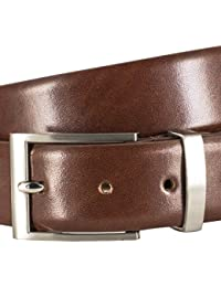 Pierre Cardin Mens leather belt / Mens belt, leather belt curved with metal loop and gift box, cognac