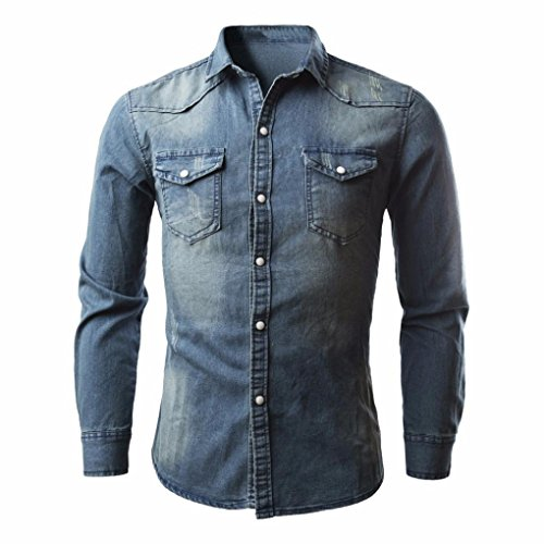 LuckyGirls Herren Denim Shirt Jacke Retro Cowboy Bluse dünne lange Tops (XXL, Blau)