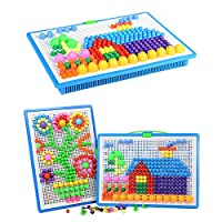 ‏‪VanStar 296 pcs Mushroom Nails Pegboard Educational Colourful Jigsaw Puzzle Building Blocks Bricks Creative DIY Mosaic Toys for Kids & Toddlers, Perfect Birthday for Girls Boys Age 3-8 years‬‏