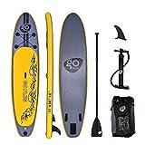 Goplus Tavola da Surf Gonfiabile Surfboard Tavola da Surf con Pagaia Regolabile, Pompa, Borsa e Pinne, Carico Fino a 200kg, 335x76x15cm