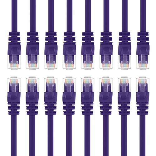 GearIT 10 Stück Ethernet-Kabel, CAT6, 15 cm, Computer LAN Netzwerk-Kabel, violett - kompatibel mit 10-Port-Switch, POE 10 Port Gigabit violett 1.5 Feet (16-Pack) (Hdmi-switch, 10-port)