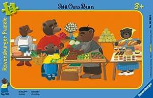 Ravensburger - 06308 - Puzzle Enfant avec cadre - Petit Ours brun - Au Marché - 15 Pièces