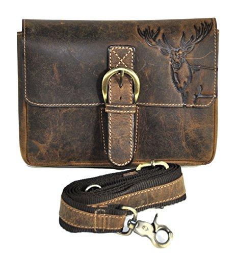 Leder Gürteltasche Bikertasche Hüfttasche Bauchtasche Vintage Hunterleder mit abnehmbaren Schultergurt Hirsch (Abnehmbarer Leder)