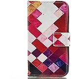 iPhone 5y 5S se funda de piel, w-pigcase colorida exquisita funda de piel sintética con patrón y cómodo feelling para iphone 5/5S/Se