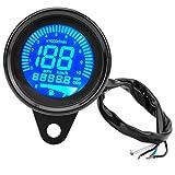 Geschwindigkeitsmesser Motorrad Tachometer, Motorrad Instrumenten Anzeige Ölstand Messgerät LCD Anzeige Universal digitaler Kilometerzähler Tachometer-Tachometer(Black)