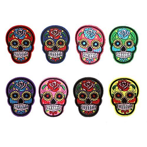 Hinter Totenkopf-Aufnäher Set mit Totenkopf-Abzeichen, mexikanischer Sugar Skull Bestickt zum Aufbügeln für Jeans, Taschen, Weste, Jacken, Kunst und Handwerk 8 Stück -