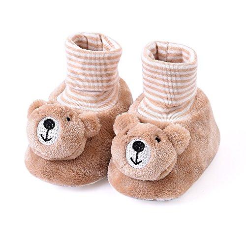 Eastlion Bebê Primeiros Sapatos De Caminhada Suave Prewalker Ajuste Quente Por 0-10 Meses Marrom