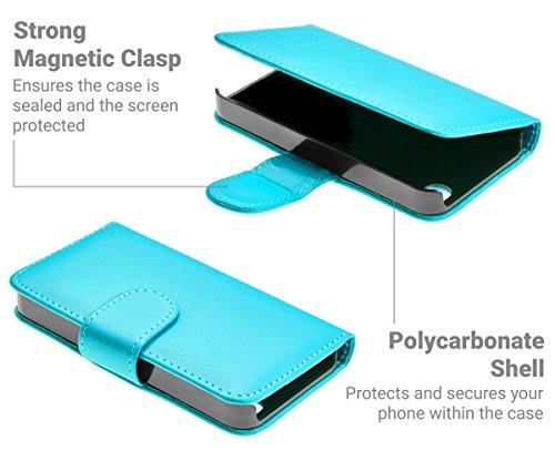GizzmoHeaven iPhone 4 / 4S Étui en cuir porte-carte housse coque case cover pour Apple iPhone 4 / 4S avec protecteur d'écran et stylet - Rouge Bleu Clair