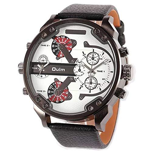 Fittingran orologio orologio da uomo, sportivo al quarzo da uomo orologio militare da esterno quadrante al quarzo con quadrante doppio (bianco)