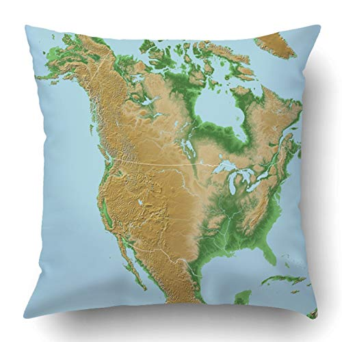 Throw Pillow Covers Blue Usa Elevations North America Map Relief National Borders Geographic Topography Canada Polyester Square Hidden Zipper Decorative Pillowcase 20x20 inch
