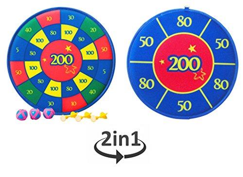 Solex 2in1 Klett-Dart Set mit Dartscheibe 39cm Dartpfeilen und Klettbällen - Klett Scheibe beidseitig spielbar Dartspiel und Wurfspiel