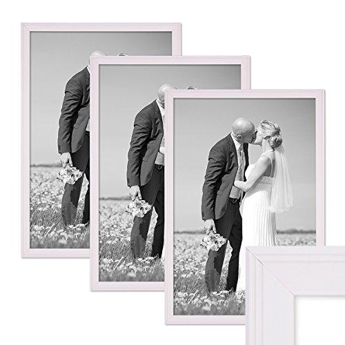 fotorahmen 30x45 PHOTOLINI 3er Set Landhaus-Bilderrahmen 30x45 cm Weiss Massivholz mit Glasscheibe und Zubehör/Fotorahmen